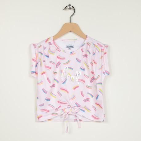 T-shirt manches courtes en maille imprimée avec fermeture nouée