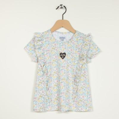T-shirt manches courtes avec volants et badges brodés
