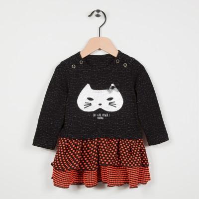 Robe bi-matière avec motif chat