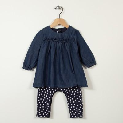 Robe combinaison en jean et pois